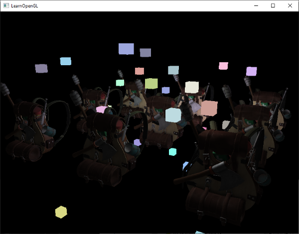 Image of deferred rendering with forward rendering where we copied the depth buffer data and lights are rendered properly with all  geometry in OpenGL
