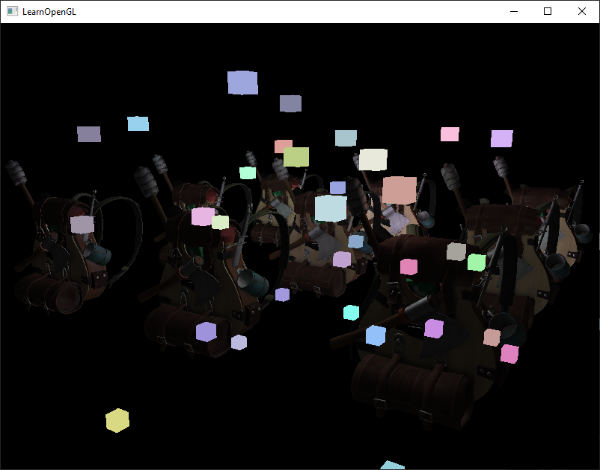 Image of deferred rendering with forward rendering where we didn't copy depth buffer data and lights are rendered on top of all geometry in OpenGL