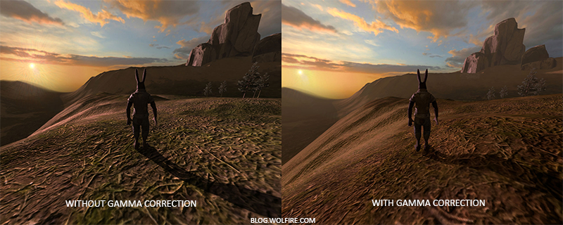 Example of gamma correction w/ and without on advanced rendering