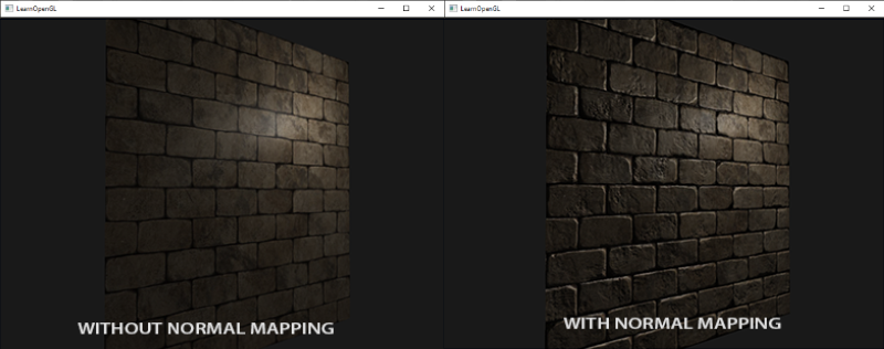 Surface without and with normal mapping in OpenGL