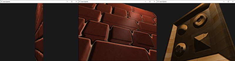 Three images displaying the issues with standard parallax mapping: breaks down at angles and incorrect results with steep height changes.