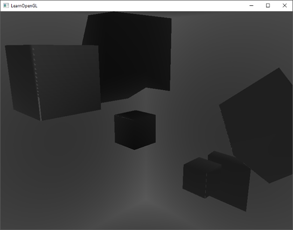 Visualized depth cube map of omnidrectional shadow maps