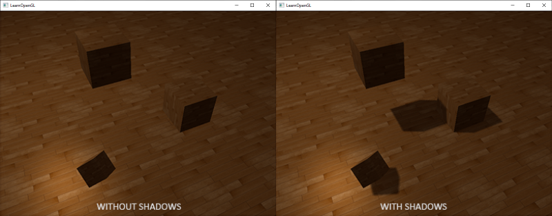 comparrison of shadows in a scene with and without in OpenGL