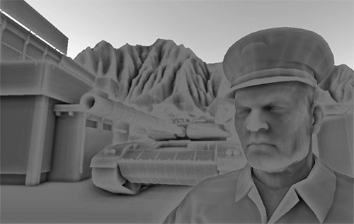 Screen space ambient occlusion in the Crysis game by Crytek showing a gray feel due to them using a sphere kernel instead of a normal oriented hemisphere sample kernel in OpenGL