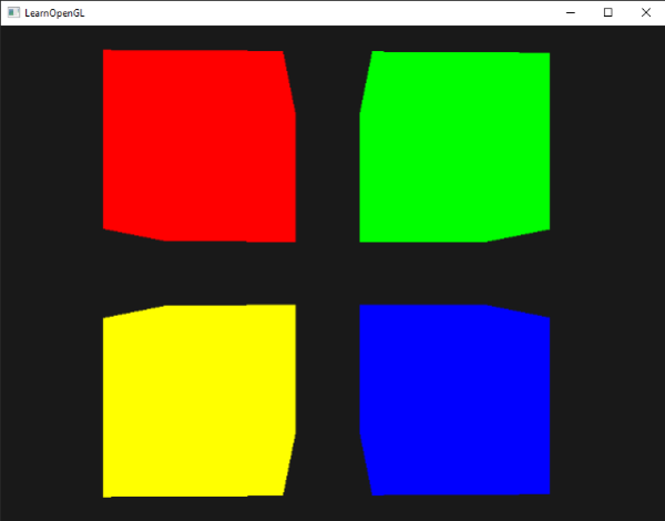Image of 4 cubes with their uniforms set via OpenGL's uniform buffer objects