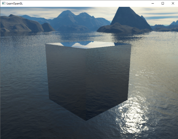Image of a cube reflecting a skybox via cubemaps via environment mapping.