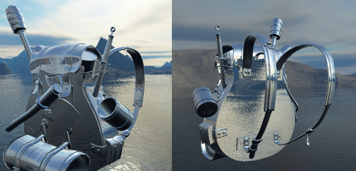 Image of a Backpack model reflecting a skybox via cubemaps via environment mapping.