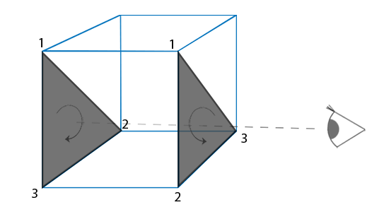 Image of viewer seeing front or back facing triangles