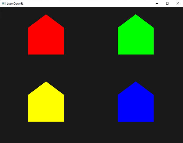 Colored houses, generating using points with geometry shaders in OpenGL