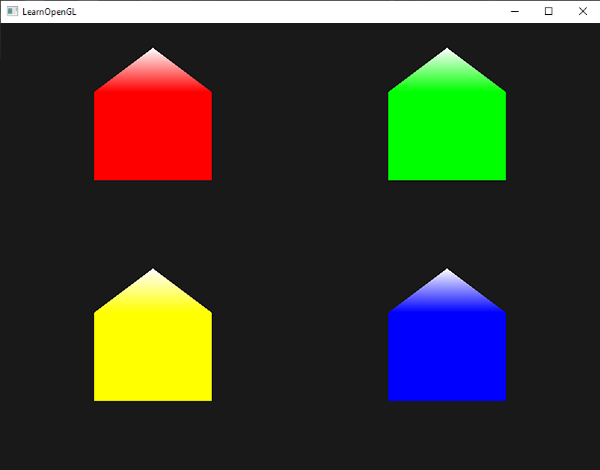 Snow-colored houses, generating using points with geometry shaders in OpenGL
