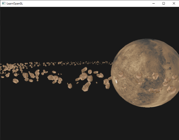 Image of asteroid field drawn in OpenGL