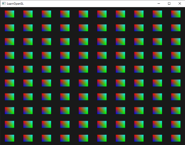 100 Quads drawn via OpenGL instancing.