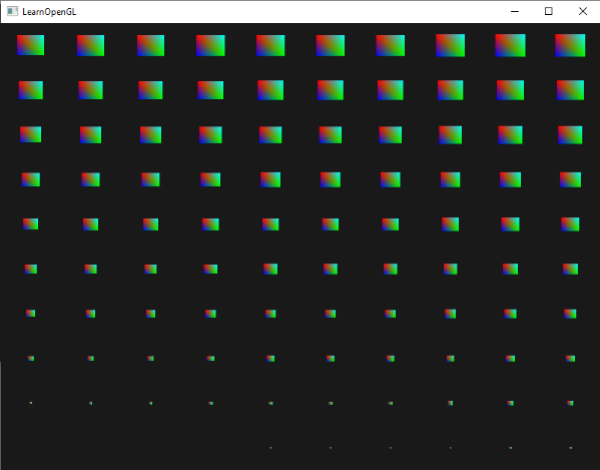 Image of instanced quads drawn in OpenGL using instanced arrays