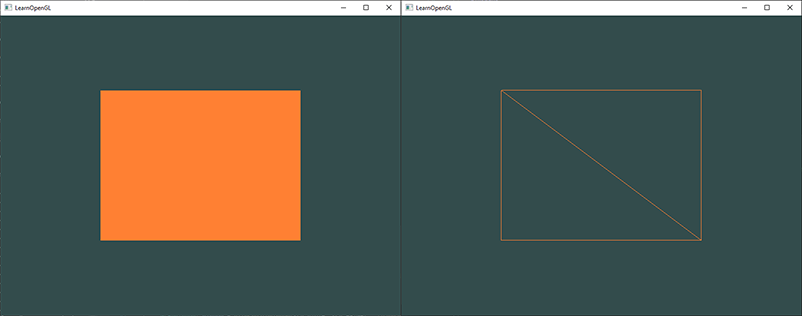 A rectangle drawn using indexed rendering in OpenGL