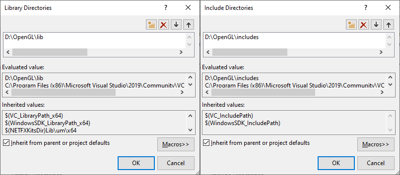 Image of Visual Studio's Include Directories configuration