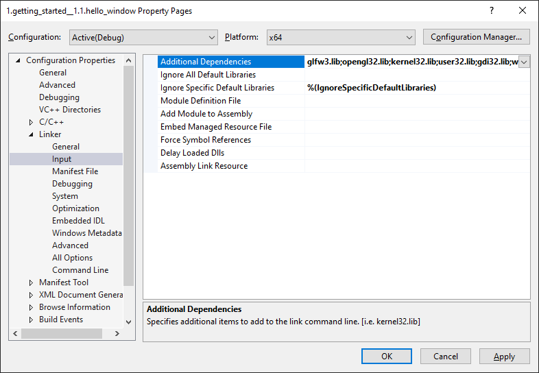 Image of Visual Studio's link configuration