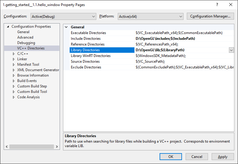 Image of Visual Studio's VC++ Directories configuration
