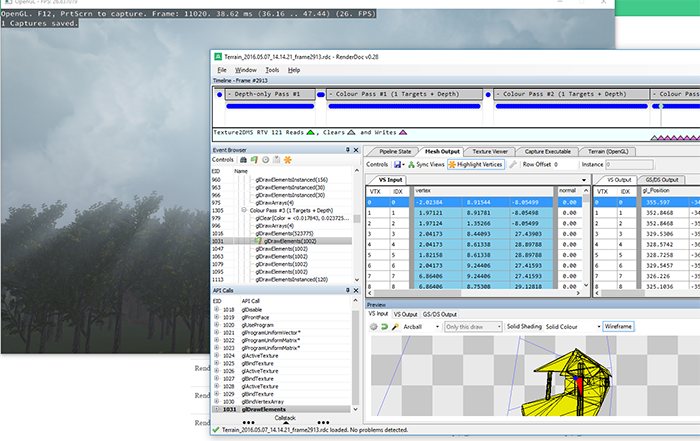 Image of RenderDoc running on an OpenGL application.