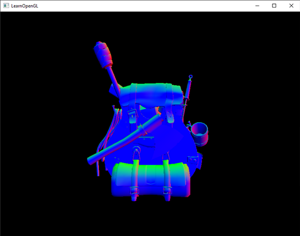 The image of a 3D model with its normal vectors displayed as the fragment shader output in OpenGL for debugging